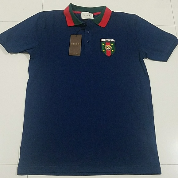 597c73f1 gucci Shirts | Polo Shirt Tiger Stripe Blue Red | Poshmark